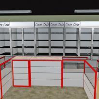 3D визуализация оборудования в павильоне (вариант с овощным отделом)